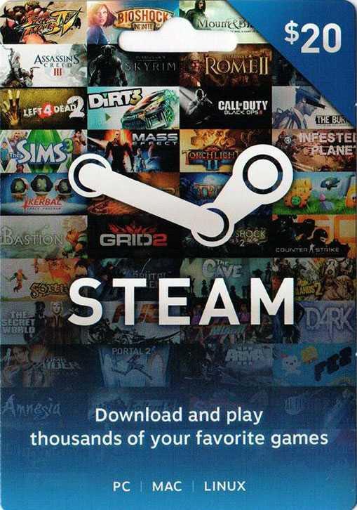 Купить ключ дешево Карта оплаты Steam 20 долларов
