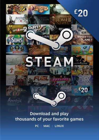 Купить ключ дешево Карта оплаты Steam 20 фунтов